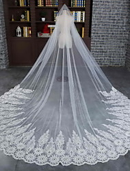 Wedding Veil One-tier Cathedral Veils Lace Applique Edge / Scalloped Edge Tulle / Lace Ivory