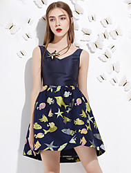 Trapèze Robe Femme Sortie Mignon,Imprimé Col en V Au dessus du genou Sans Manches Bleu Polyester Eté Taille Haute Non Elastique Moyen