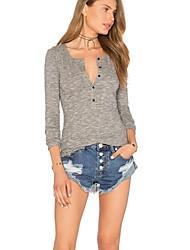 Damen Solide Sexy Lässig/Alltäglich T-shirt,V-Ausschnitt Herbst Langarm Grau Baumwolle Mittel
