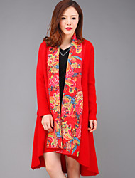 yang x-M Mulheres de sair chinoiserie trincheira coatfloral pescoço v manga longa