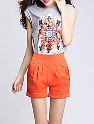 Women's Solid Blue / Red / White / Black / Green / Orange / Multi-color Shorts Pants,Plus Size / Casual / Day