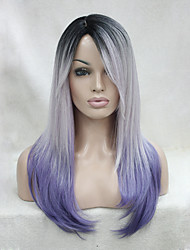 Quality Heat Resistant Black Root With White And Purple Mix Three Tone  Ombre Long Straight Wig