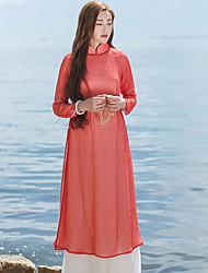 Ample Robe Femme Décontracté / Quotidien simple / Chinoiserie,Couleur Pleine Mao Mi-long Manches Longues Rouge Lin / Autres Printemps