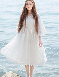 Ample Robe Femme Décontracté / Quotidien Chinoiserie,Broderie Col en V Mi-long Manches ¾ Blanc Autres Printemps / Eté Taille HauteNon