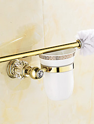 European Style Solid Brass Crystal Gold Bathroom Shelf Bathroom Toilet Brush Holder Bathroom Accessories