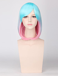 cosplay perruque Synthétique Fabriqué à la machine Perruques Long Bleu Cheveux