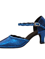 Customizable Women's Dance Shoes Paillette Latin / Modern Sandals / Heels Customized Heel Professional / Indoor Blue