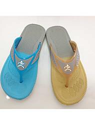 Herren-Sandalen-Lässig-Silica Gel-Flacher Absatz-Flache Schuhe-Blau / Orange