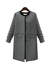 Cappotto Da donna Casual / Taglie forti Autunno / Inverno Moda città,Tinta unita Rotonda Cotone Grigio Manica lunga Medio spessore