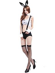 Costumes de Cosplay / Costume de Soirée Costumes de père noël / Bunny girl Fête / Célébration Déguisement Halloween Blanc / Noir Mosaïque