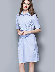 Women's Casual/Daily Sophisticated Sheath DressStriped Shirt Collar Knee-length  Length Sleeve