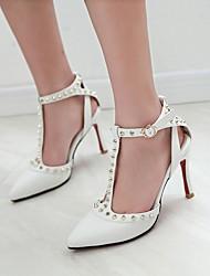 Damen-High Heels-Lässig-PU-Stöckelabsatz-Komfort-Schwarz / Rosa / Weiß