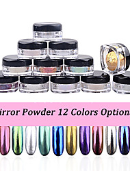 2g/box Shinning Mirror Nail Glitter Powder Dust DIY Nail Art Sequins Chrome Pigment Decorations