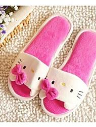 Women's Slippers & Flip-Flops Spring Fall Comfort Fleece Casual Flat Heel Bowknot Pink Red Others