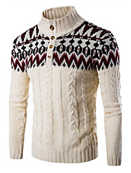 Men's Color Block Casual / Sport PulloverCotton Long Sleeve Black / Beige / Gray
