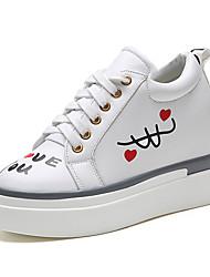 Damen-Sportschuhe-Lässig-PU-Flacher Absatz-Komfort-Schwarz Weiß
