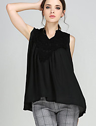 Mulheres Blusa Tamanhos Grandes Simples Verão,Sólido Preto Poliéster Decote V Sem Manga Opaca