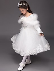 Ball Gown Tea-length Flower Girl Dress - Satin / Tulle Long Sleeve Bateau with Appliques / Flower(s) / Sequins