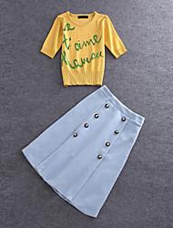 Damen Buchstabe Niedlich Ausgehen T-shirt Rock,Rundhalsausschnitt Sommer ½ Länge Ärmel Gelb Baumwolle / Polyester Mittel