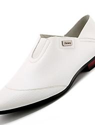 Men's Loafers & Slip-Ons Comfort Leather Office & Career Flat Heel Slip-on Black / White / Burgundy Others
