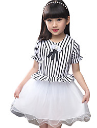 Girl's Going out Striped DressCotton / Polyester Summer Black / Red