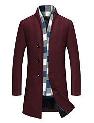Men's Solid Casual / Formal / Plus Size Trench coatBamboo Fiber / Polyester Long Sleeve-Black / Blue / Red / Gray