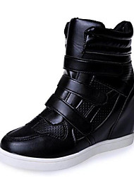 Women's Sneakers Spring / Fall Wedges Leatherette Outdoor / Casual Wedge Heel Buckle Black / White Others