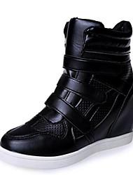 Damen-Sneaker-Outddor / Lässig-Kunstleder-Keilabsatz-Wedges-Schwarz / Weiß