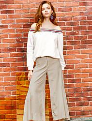 De liangsanshi vrouwen solide beige bootcut broek, street chic