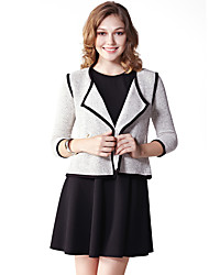 Women's Casual/Daily Simple Spring / Fall JacketsSolid Notch Lapel  Sleeve Gray Cotton / Polyester Medium