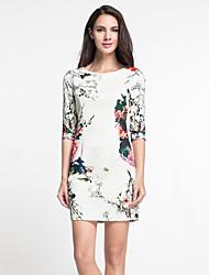 masa femmes sortir gaine chinoiserie dressfloral col rond au-dessus de la longueur du genou manches bleu polyester / blanc