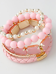 Strand Bracelets Alloy / Leather / Acrylic Circle Crossover / Punk Style / Rock Daily / Casual Jewelry GiftLight Pink /