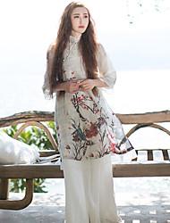 Ample Robe Femme Décontracté / Quotidien Chinoiserie,Fleur Mao Mi-long Manches ¾ Blanc Lin / Autres Eté Taille Normale Non Elastique Moyen
