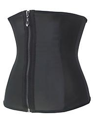 Burvogue Women's Black Zipper and Hooks 9 Steel Bone Smooth Latex Waist Trainer Corset Body Shapewear