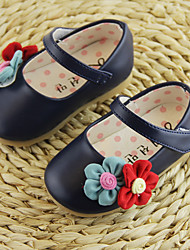 Girl's Flats Spring Fall PU Casual Flat Heel Flower Black Pink White Other