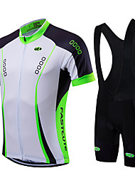 Fastcute Cycling Jersey with Bib Shorts Men's Unisex Short Sleeves Bike Bib Tights Jersey Clothing Suits Quick Dry Front Zipper Wearable