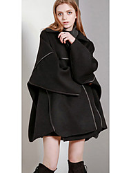 Women's Casual/Daily Simple Trench CoatSolid Round Neck Long Sleeve Spring / Fall Black Wool Medium