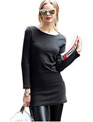 Damen Solide Street Schick Lässig/Alltäglich T-shirt,Rundhalsausschnitt Frühling Langarm Grau Kaschmir Undurchsichtig