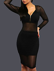 Women's Going out / Party/Cocktail / Club Sexy / Simple Bodycon DressSolid V Neck Above Knee Long Sleeve Black Polyester