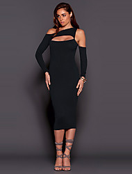 Women's Off The Shoulder|Cut Out Party / Club Sexy / Simple Sheath DressSolid One Shoulder Midi Long Sleeve Slim Cut Out Mid Rise