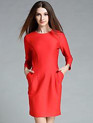 ainier Frauen formal einfachen Mantel dresssolid Rundhalsausschnitt über Knie lange Ärmel rot Baumwolle / Polyester / Spandex