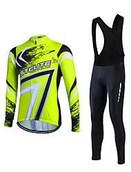 Fastcute® Camisa com Calça Bretelle Homens Manga Comprida MotoRespirável / Materiais Leves / Tapete 3D / Bolso Traseiro / Redutor de Suor