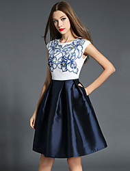 Women's Going out Sophisticated Sheath DressFloral Round Neck Knee-length Sleeveless Blue Polyester Fall