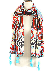Women Bohemia Stripes Geometric Patterns Color Stitching Printing Fringed Shawl Scarves