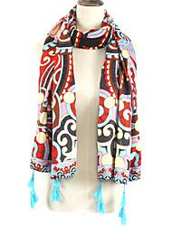 Women Bohemia Stripes Geometric Patterns Color Stitching Printing Fringed Shawl Scarves