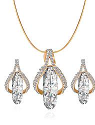 /Necklace/Earrings/Golden/Fashionable/Rhinestone