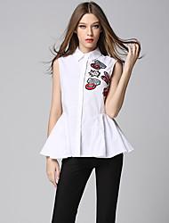 AJIDUO Women's Shirt Collar Sleeveless Shirt & Blouse White-6957