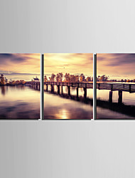 E-HOME® Stretched Canvas Art The Lake Bridge Scenery Decoration Painting  Set Of 3