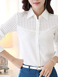 Women's Wild Cut Out OL Solid Long Sleeve Chiffon Shirt