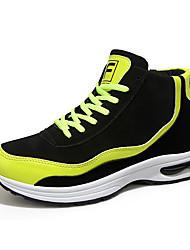 Masculino-Tênis-Conforto-Rasteiro-Amarelo Preto e Vermelho Preto e Branco-Tecido-Casual